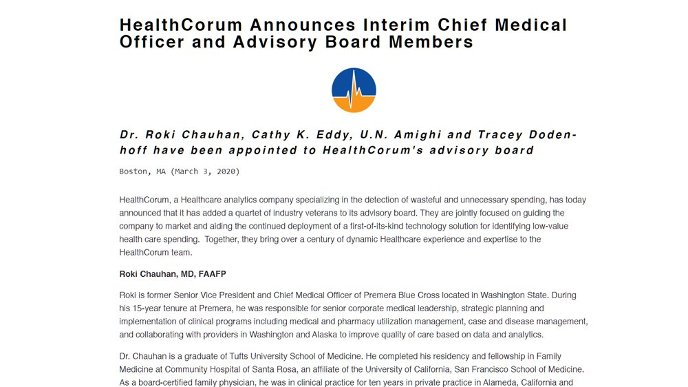 HealthCorum Announces Interim Chief Medical Officer and Advisory Board Members