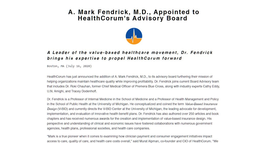 A. Mark Fendrick, M.D., Appointed to HealthCorum's Advisory Board