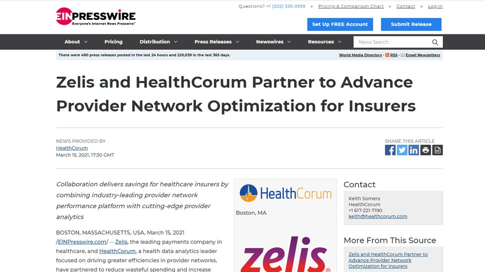 Zelis and HealthCorum Partner to Advance Provider Network Optimization for Insurers
